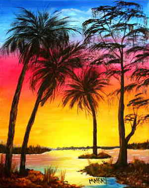 A Key West Sunset: Stage III (Painitng Party Painitng)