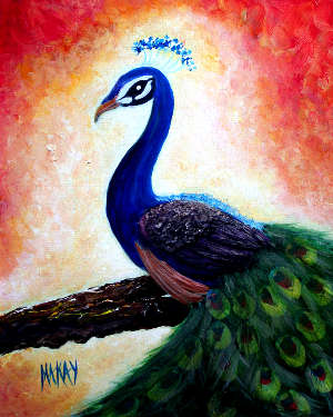 The Regal Peacock: Stage III (Great for Acrylic Painting Workshop and Courses)