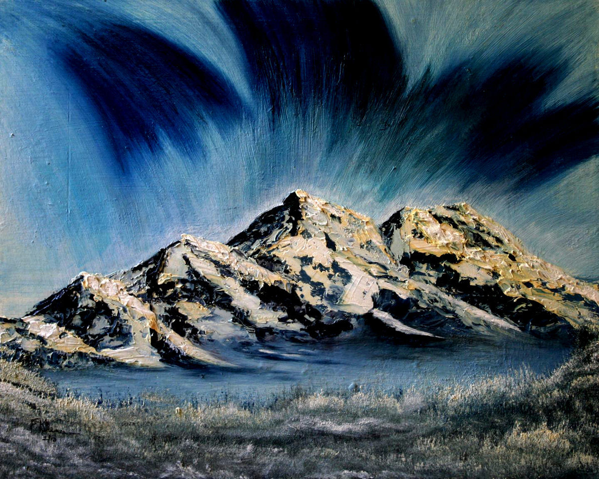 oil-Blue Aurora Mountain: Stage II Oil Painting Course