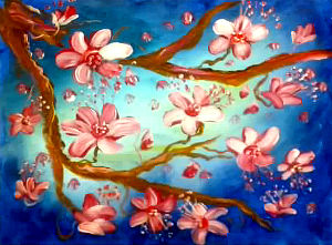 Cherry Blossom Wonder in Blue(Abstract): Stage I