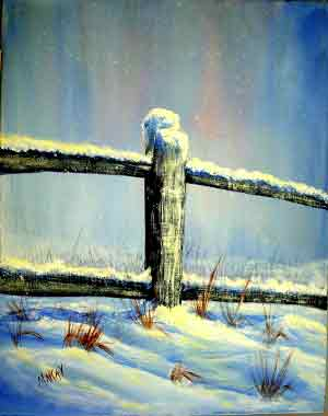 Quiet Winter Fence Post: Stage I