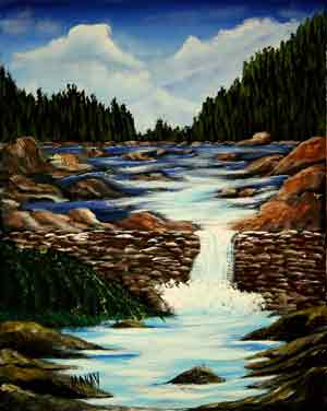 acrylic-Waterfall Over The Wall: Stage III (Workshop or Course)