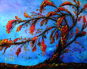 Whimsical Windy Evening: Stage I (Easy Painting to learn simple tree structure)