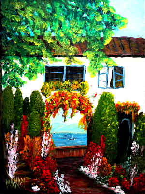 Scenic Tuscan Doorway: Stage III (Workshop or Course Painting)