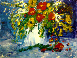 Floral Bouquet: Stage II (Painting Party Painting:Acrylic Palette Knife Painting)