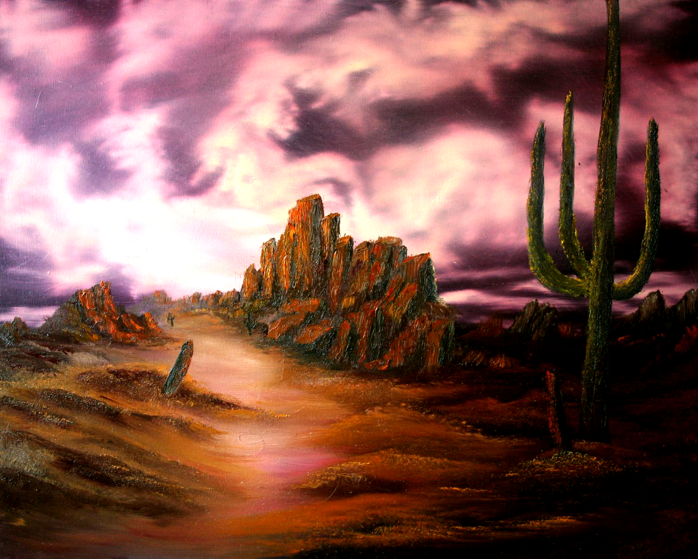 oil-Spectacular Cactus Sky: Stage II Oils Course