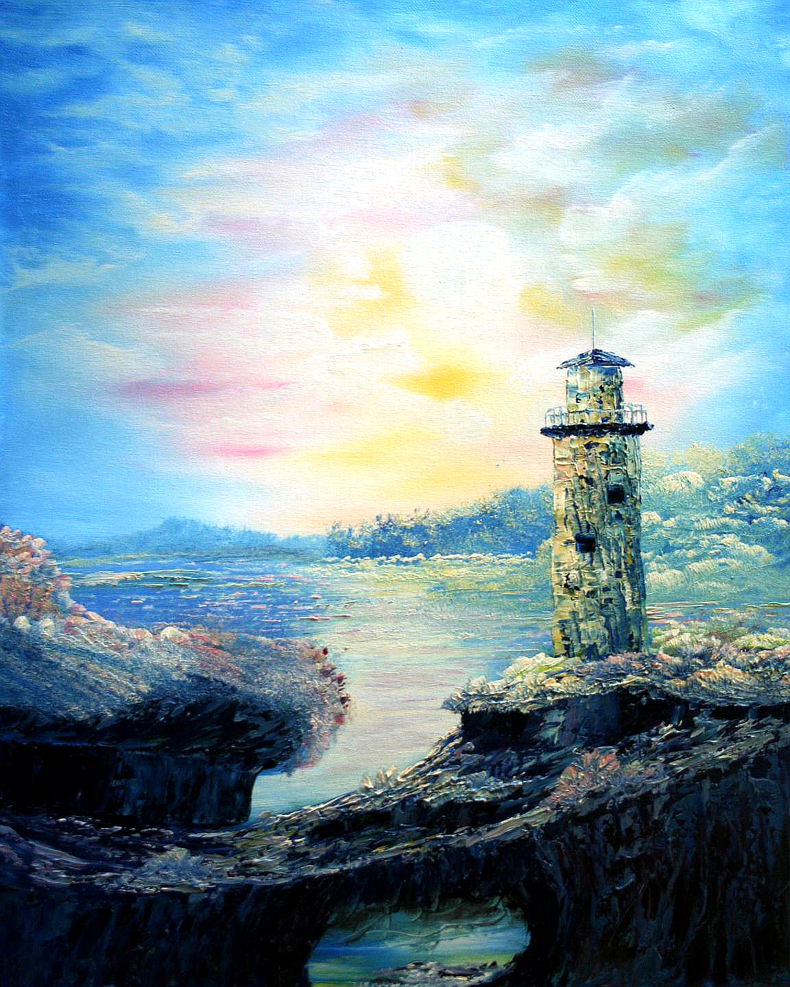 oil-Old Fantasy Lighthouse: Stage III Oils Course