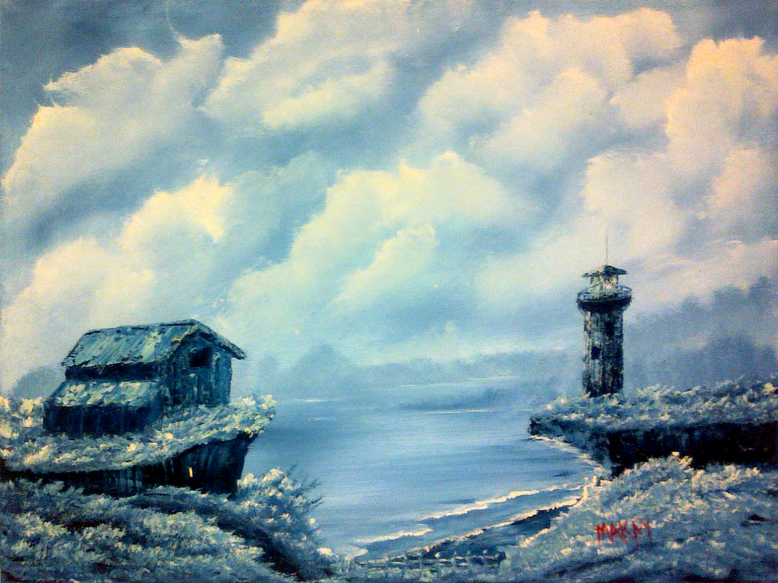 oil-Winter Lighthouse: Stage I: Oils Course