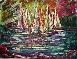 A Rainbow of Sailboats: Stage III (Workshop: Acrylic Palette Knife Painting)